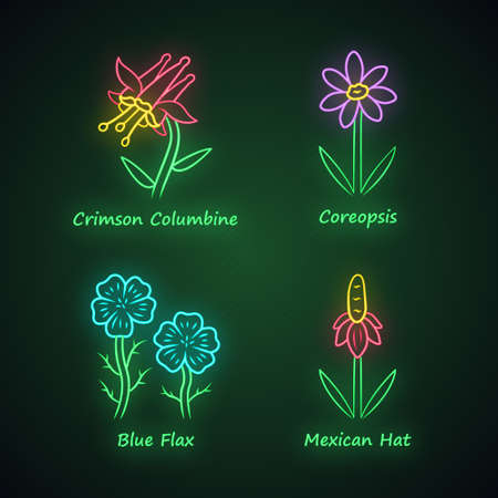 Wild flowers neon light icons set. Crimson columbine, coreopsis, blue flax, mexican hat. Blooming wildflowers, weed. Field, meadow plants. Glowing signs. Vector isolated illustrations