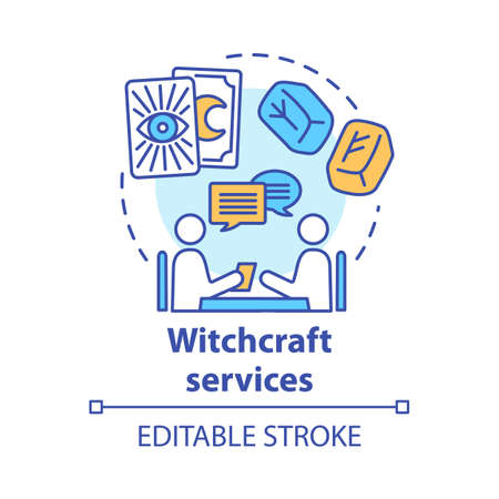 Witchcraft services concept icon. Fortune telling and divination idea thin line illustration. Rune stones, psychic with client and tarot cards vector isolated outline drawing. Editable stroke Foto de archivo - 129619394