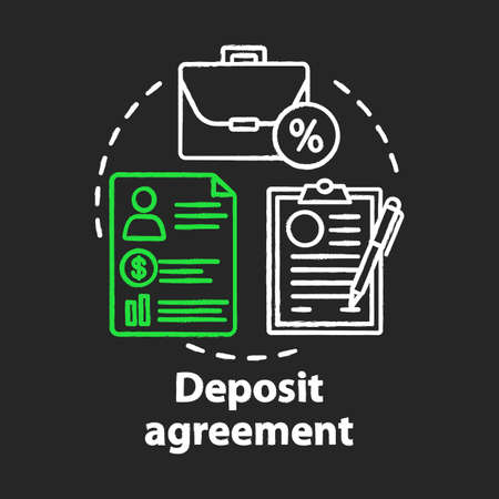 Deposit agreement chalk concept icon. Savings idea. Signing bank contract, legal documentation. Constructing financial contract. Financial services. Vector isolated chalkboard illustration