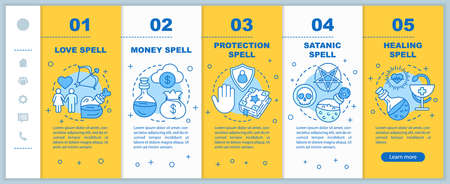 Magic spells onboarding mobile web pages vector template. Witchcraft responsive smartphone website interface idea with linear illustrations. Webpage walkthrough step screens. Color concept  Stock Illustratie