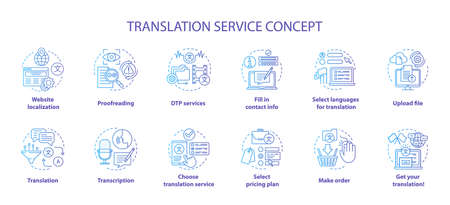 Translation service blue concept icons set. Foreign language translation idea thin line illustrations. DTP services and proofreading. Upload file. Vector isolated outline drawings. Editable stroke Фото со стока - 129619463