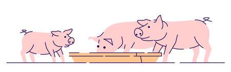 Cochons roses alimentant l'illustration vectorielle plane. Élevage, élevage et élevage concept de dessin animé avec contour. Ferme de production de viande. Porc, porcelets manger isolé sur fond blanc Vecteurs