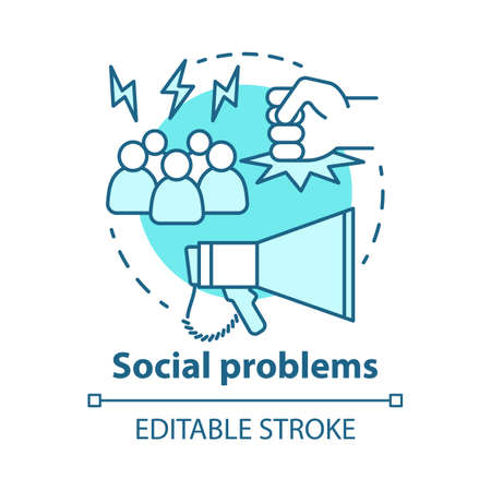Social problems concept icon. Violence, social abuse and harassment idea thin line illustration. Antisocial behaviour. Conflicts and bullying. Vector isolated outline drawing. Editable stroke