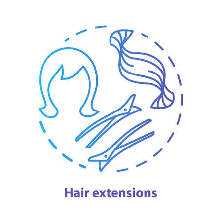 Hair extensions blue concept icon. Clip in hair tapes, wig and accessories idea thin line illustration. Hairdresser, hairstylist parlor. Blue gradient vector isolated outline drawing. Editable stroke  イラスト・ベクター素材