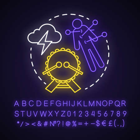 Curse neon light concept icon. Occultism and witchcraft idea. Glowing sign with alphabet, numbers and symbols. Voodoo doll with needles, drum and storm cloud vector isolated illustration