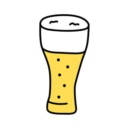 Light beer glass with froth yellow color icon. Traditional alcohol beverage, foamy ale, lager pint isolated vector illustration. Bar, pub, tavern cartoon logo. Unhealthy drink, harmful beverage Фото со стока - 129671984