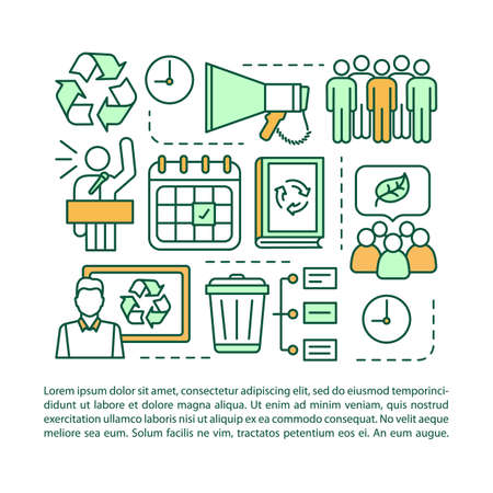 Zero waste event article page vector template. Eco meeting. Environment protection protest. Brochure, magazine, booklet design element with linear icons and text. Print design. Concept illustrations Фото со стока - 129671985