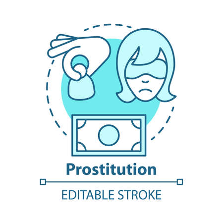 Prostitution concept icon. Sex trafficking idea thin line illustration. Sexual exploitation, slavery. Assault and harassment. Commercial sex. Debauchery. Vector isolated drawing. Editable stroke Illustration