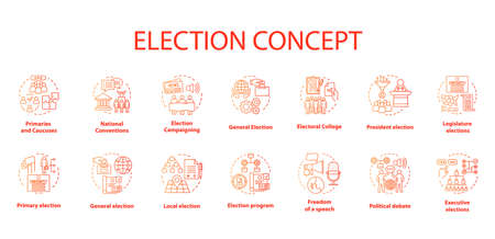 Election concept icons set. Political campaign and propaganda idea thin line illustrations. President elections. Public opinion and voting. Vector isolated outline drawings. Editable stroke