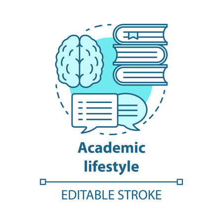 Academic lifestyle blue concept icon. Knowledge and learning idea thin line illustration. Education and scholarship. Avid books reading. Vector isolated outline drawing. Editable stroke