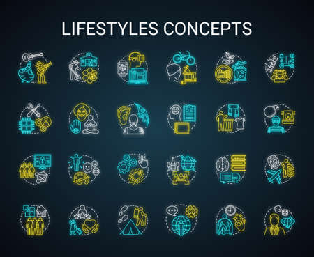 Lifestyles concepts neon light concept icons set. Living types idea. Technician, digital, hipster, ascetic lifestyle. Glowing sign with alphabet, numbers and symbols. Vector isolated illustration Illustration