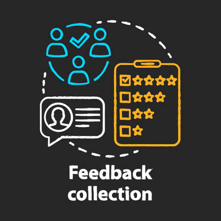 Feedback collection chalk concept icon. Customer service experience idea. Client satisfaction survey, review. Quality evaluation. Vector isolated chalkboard illustration Archivio Fotografico - 129672007