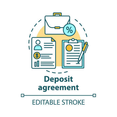 Deposit agreement concept icon. Savings idea thin line illustration. Signing bank contract, legal documentation. Constructing financial contract. Vector isolated outline drawing. Editable stroke