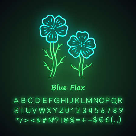 Blue flax plant neon light icon. Linen wild flower with name inscription. Spring blossom. Blooming linum wildflower inflorescence. Glowing sign with alphabet, numbers. Vector isolated illustration