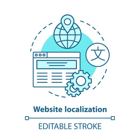 Website localization blue concept icon. Website translation idea thin line illustration. Launch & manage multilingual webpage, international SEO. Vector isolated outline drawing. Editable stroke Banque d'images - 129619603