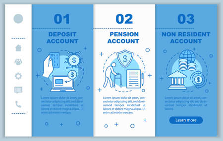Deposit onboarding mobile web pages vector template. Banking service. Responsive smartphone website interface idea with linear illustrations. Webpage walkthrough step screens. Color concept Illusztráció