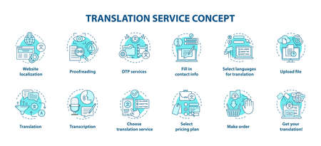 Translation service blue concept icons set. Foreign language translation idea thin line illustrations. DTP services and proofreading. Upload file. Vector isolated outline drawings. Editable stroke Banque d'images - 129619606