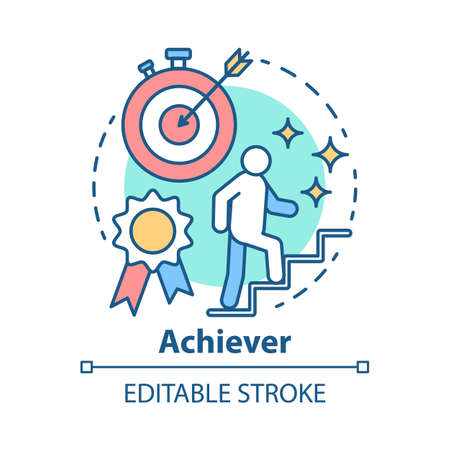 Achiever concept icon. Successful person idea thin line illustration. Goal achieving, winner. Reaching target. Personal growth, career ladder. Vector isolated outline drawing. Editable stroke