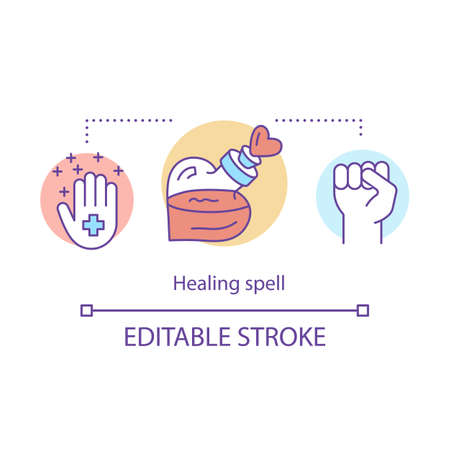 Healing spell concept icon. Witchcraft and alchemy idea thin line illustration. Occult medicine, health elixir. Hand with cross, fist and magic potion vector isolated outline drawing. Editable stroke Foto de archivo - 129619619