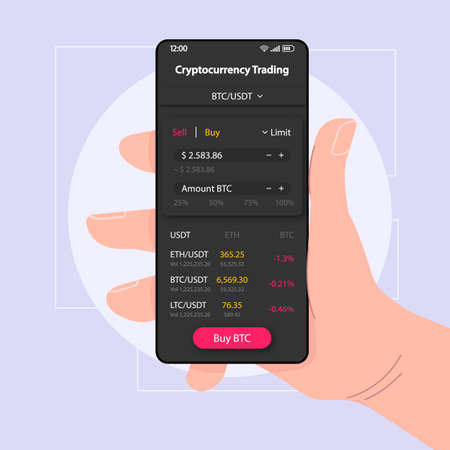 Bitcoin trading smartphone interface vector template. Mobile app page black design layout. Cryptocurrency balance screen. Flat UI for application. Hand holding phone with BTC amount on display