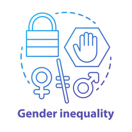 Gender inequality concept icon. Sex discrimination idea thin line illustration. Unequal female and male rights. Sexism. Empowerment of women. Vector isolated outline drawing Illusztráció