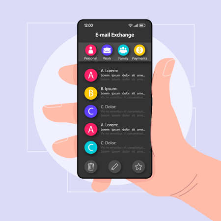 E-mail exchange menu smartphone interface vector template. Mobile app page black design layout. Incoming mail organizer screen. Flat UI for application. Hand holding phone with chats on display