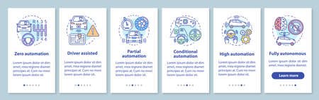 Driverless car stages onboarding mobile app page screen with linear concepts. Vehicle development walkthrough steps graphic instructions. UX, UI, GUI vector template with illustrations Illusztráció