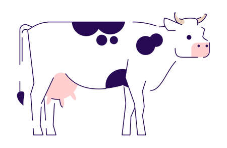 Cow flat vector illustration. Livestock, cattle farming, domestic animal husbandry design element. Beef meat production, dairy farm. Cartoon spotted cow isolated on white background  イラスト・ベクター素材