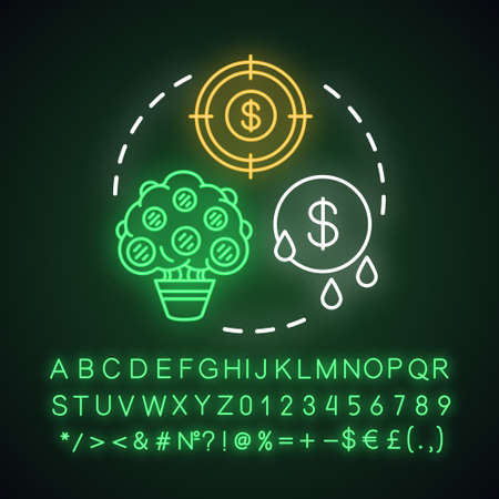 Get passive income neon light concept icon. Savings idea. Getting interest, percentage from investment, deposit. Glowing sign with alphabet, numbers and symbols. Vector isolated illustration