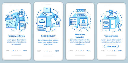 Delivery services onboarding mobile app page screen with linear concepts. Commercial transportation industry walkthrough steps graphic instructions. UX, UI, GUI vector template with illustrations