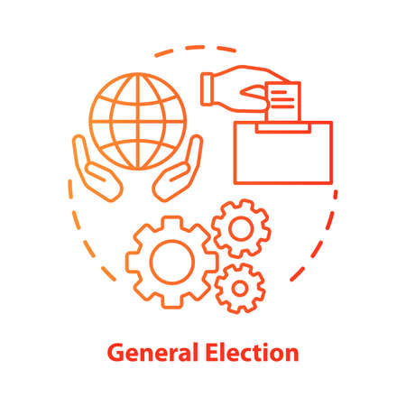 General election concept icon. Elections idea thin line illustration. Voting, choosing from political candidates, parties. Referendum, public choice, decision. Vector isolated drawing. Editable stroke