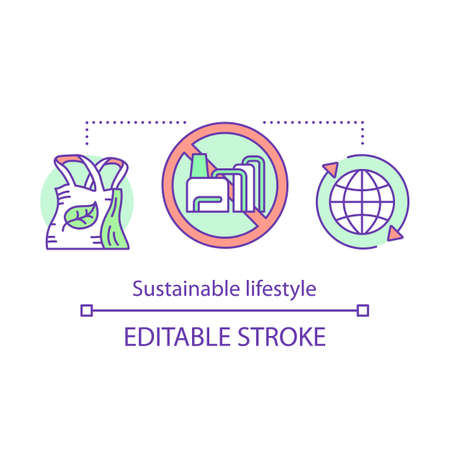Sustainable lifestyle concept icon. Reducing unnecessary waste idea thin line illustration. Recycling, eco bags. Natural resource consumption. Vector isolated outline drawing. Editable stroke