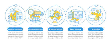 Event planning infographic template. Budgeting and scheduling, arranging, transportation. Data visualization with five steps and options. Process timeline chart. Workflow layout with linear icons