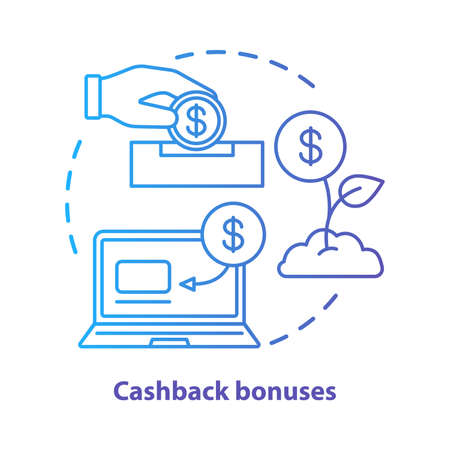 Cashback bonuses concept icon. Cash back service idea thin line illustration. Customer loyalty. Reward, benefit program. Money refund. Vector isolated outline drawing Illustration