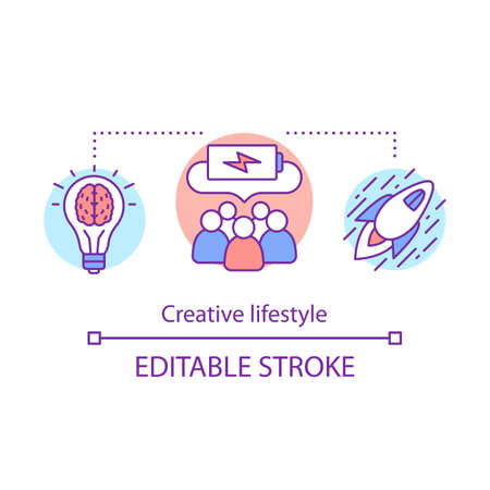 Creative lifestyle concept icon. Brainstorming idea thin line illustration. Imagination and original idea generation. Creative thinking. Vector isolated outline drawing. Editable stroke