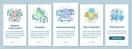 Self-driving car features onboarding mobile app page screen with linear concepts. Driverless vehicle walkthrough steps graphic instructions. UX, UI, GUI vector template with illustrations