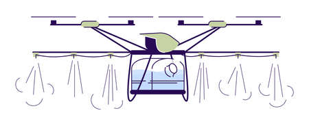 Agricultural irrigation drone flat vector illustration. Cartoon crop sprayer quadcopter with outline. Automated watering copter. Farming UAV isolated design element on white background Ilustração