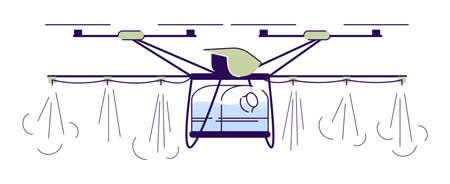 Ilustración de vector plano de drone de riego agrícola. Quadcopter rociador de cultivos de dibujos animados con contorno. Helicóptero de riego automático. Agricultura elemento de diseño aislado UAV sobre fondo blanco.