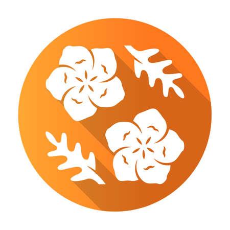 Baby blue eyes orange flat design long shadow glyph icon. Linen blooming flower. Nemophila menziesii garden plant. Blue flax. Wildflower blossom. Vector silhouette illustration