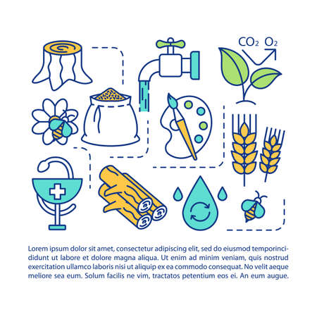 Ecosystem services article page vector template. Water resources. Brochure, magazine, booklet design element with linear icons and text boxes. Print design. Concept illustrations with text space