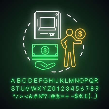 Withdraw money neon light concept icon. Savings idea. Using ATM, getting cash from bank account, deposit. Glowing sign with alphabet, numbers and symbols. Vector isolated illustration