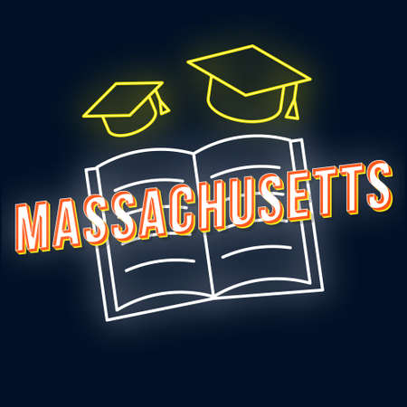 Massachusetts vintage 3d vector lettering. Retro bold font, typeface. Pop art stylized text. Old school style neon light letters. 90s, 80s poster, t shirt typography design. Dark blue color background 写真素材 - 129619997