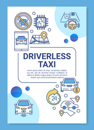 Driverless taxi brochure template layout. Smart cab service. Flyer, booklet, leaflet print design with linear illustrations. Vector page layouts for magazines, annual reports, advertising posters