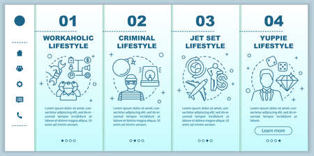 Occupational lifestyle types onboarding mobile web pages vector template. Responsive smartphone website interface idea with linear illustrations. Webpage walkthrough step screens. Color concept Illusztráció