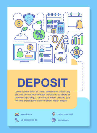 Deposit poster template layout. Keeping funds in passive income deposit. Banner, booklet, leaflet print design with linear icons. Vector brochure page layouts for magazines, advertising flyers
