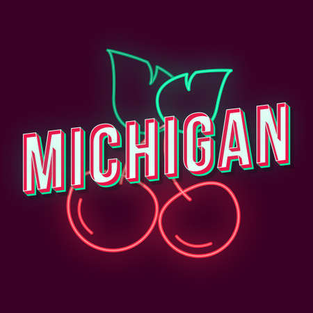 Michigan vintage 3d vector lettering. Retro bold font, typeface. Pop art stylized text. Old school style neon light letters. 90s, 80s poster, banner, t shirt typography design. Violet color background