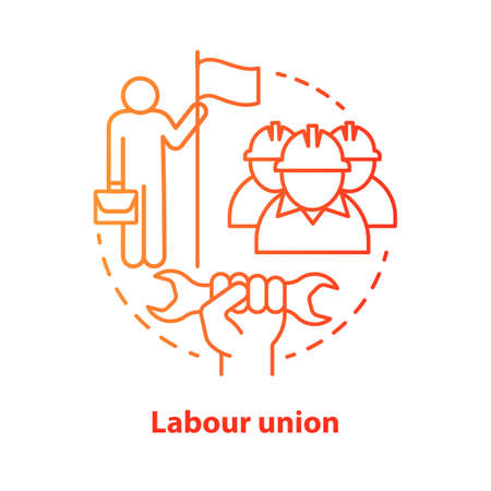 Labour union red concept icon. Employee right protection idea thin line illustration. Trade union. Workers association. Staff interests representative. Vector isolated outline drawing. Editable stroke  イラスト・ベクター素材