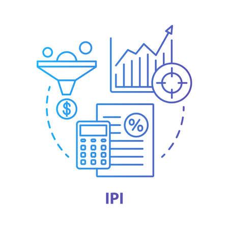 Icône de concept bleu IPI. Illustration de la ligne mince de l'indice de production industrielle. Indicateur de fabrication économique. Mesure de la production manufacturière. Dessin de contour isolé de vecteur. Trait modifiable