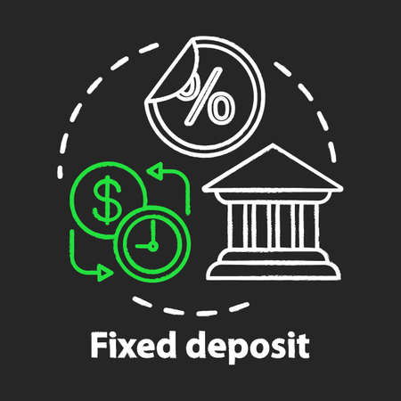 Savings chalk concept icon. Fixed deposit idea. Creating investment account. Getting bigger profits, interest until maturity date. Financial services. Vector isolated chalkboard illustration  イラスト・ベクター素材