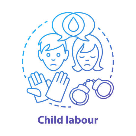 Child labour concept icon. Children exploitation & labor idea thin line illustration. Illegal child work and employment. Kids abuse, maltreatment problem. Vector isolated drawing Ilustracja